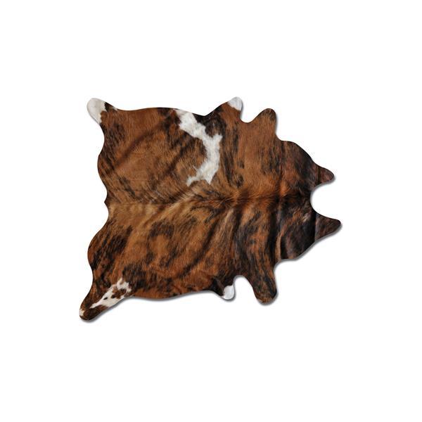Tapis kobe en peau de vache, 6' x 7', bringe classique