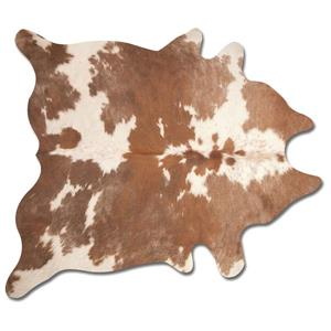 Tapis kobe en peau de vache, 6' x 7', marron / blanc