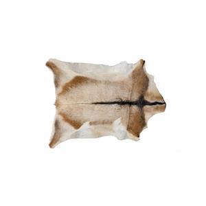 Tapis en peau de veau , 2' x 3', tan/blanc
