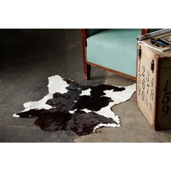 Tapis en peau de veau , 2' x 3', noir/blanc