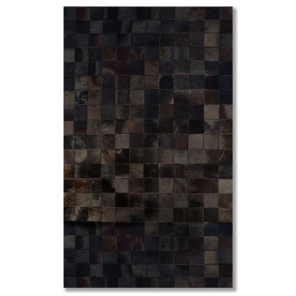 Tapis Barcelone en peau de vache, 5' x 8', chocolat