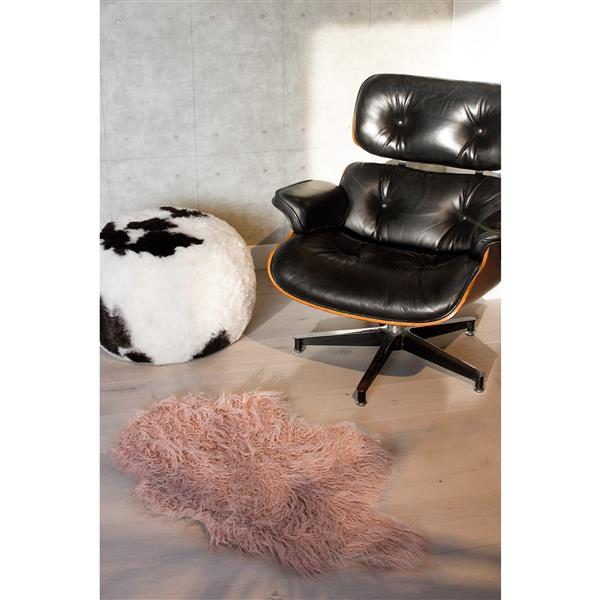 Luxe 2-ft x 3-ft Dusty Rose Mongolian Faux Sheepskin Rug