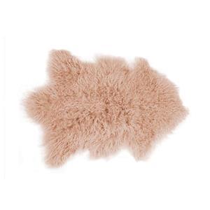 Tapis Mongolien en fausse fourrure de mouton , 2' x 3', rose