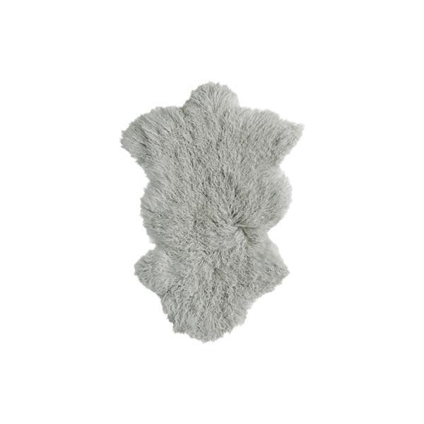 Tapis Mongolien en fausse fourrure de mouton , 2' x 3', gris