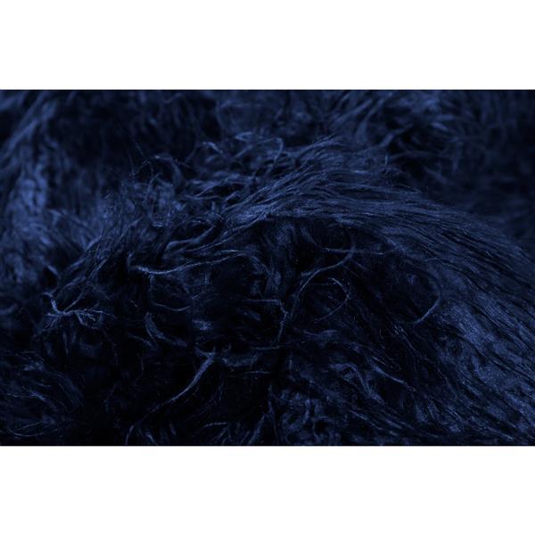 Luxe 2-ft x 6-ft Ink Mongolian Faux Sheepskin Rug