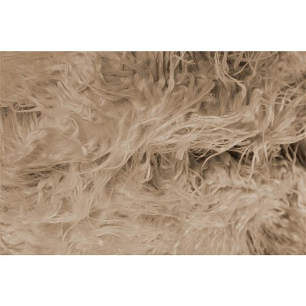 Luxe 2-ft x 6-ft Tan Mongolian Faux Sheepskin Rug
