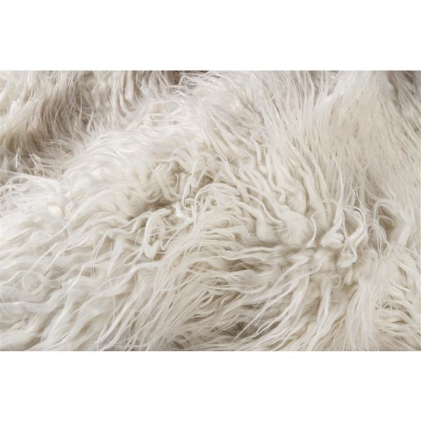 Luxe 2-ft x 6-ft White Mongolian Faux Sheepskin Rug