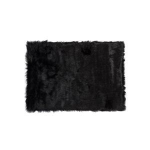 Tapis Hudson en fausse fourrure de mouton , 5' x 8', noir