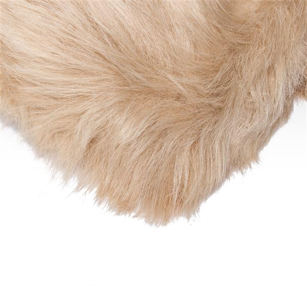 LUXE Hudson Faux Sheepskin 3-ft x 5-ft Tan Indoor Area Rug