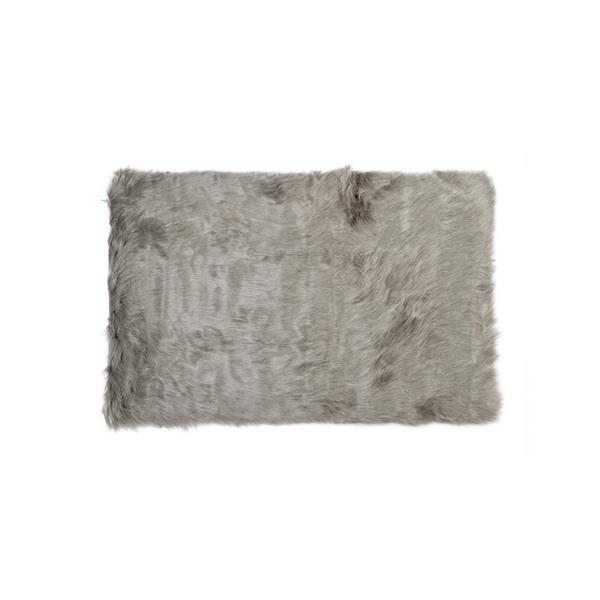 LUXE Hudson Faux Sheepskin 3-ft x 5-ft Grey Indoor Area Rug