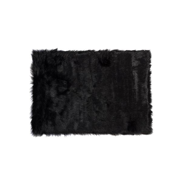 LUXE Hudson Faux Sheepskin 3-ft x 5-ft Black Indoor Area Rug