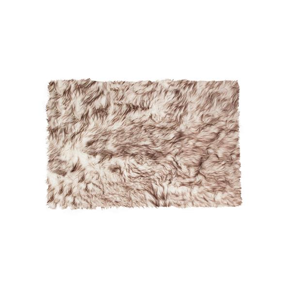 LUXE Hudson Faux Sheepskin 2-ft x 3-ft Gradient Chocolate Indoor Area Rug