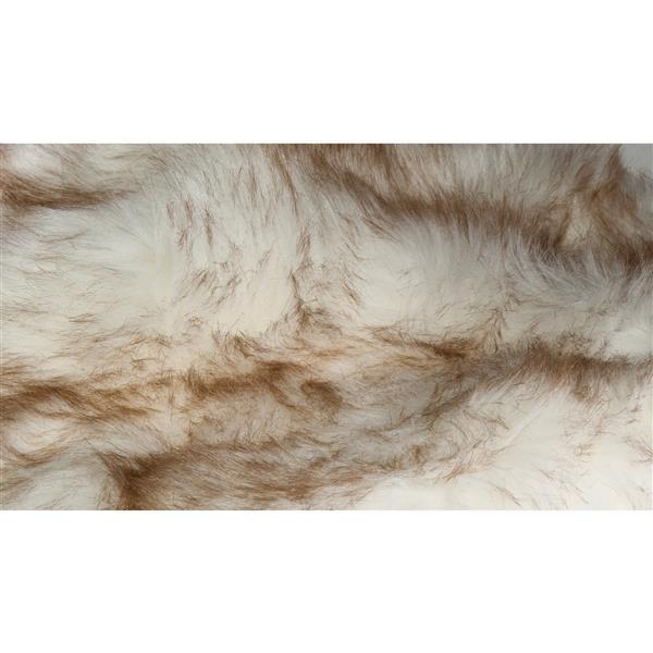 LUXE Hudson Faux Sheepskin 2-ft x 3-ft Gradient Tan Indoor Area Rug