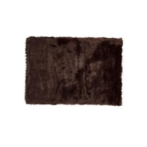 LUXE Hudson Faux Sheepskin 2-ft x 3-ft Chocolate Indoor Area Rug