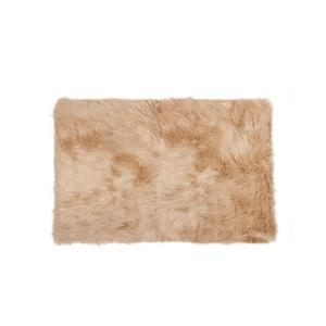 LUXE Hudson Faux Sheepskin 2-ft x 3-ft Tan Indoor Area Rug