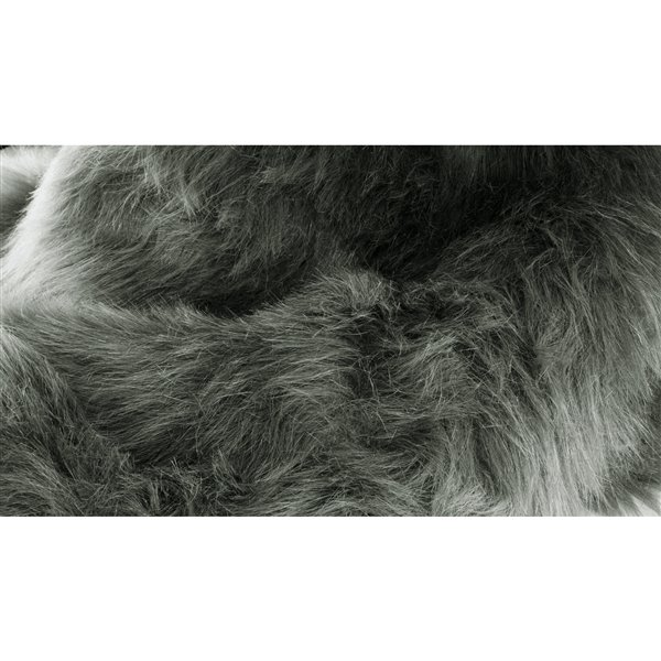 LUXE Hudson Faux Sheepskin 2-ft x 3-ft Grey Indoor Area Rug