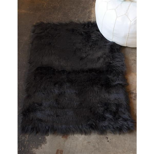 LUXE Hudson Faux Sheepskin 2-ft x 3-ft Black Indoor Area Rug
