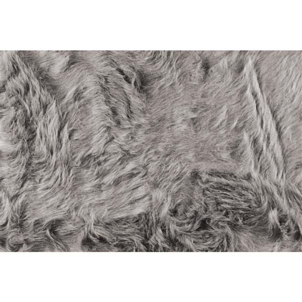 Tapis Gordon en fausse fourrure de mouton , 2' x 6', gris