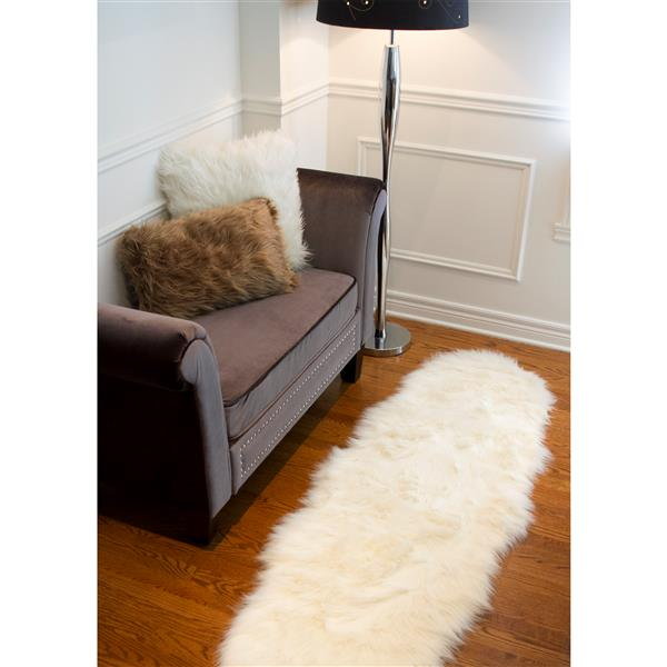 LUXE Gordon Faux Sheepskin Rug - 2'x 6' - Cream