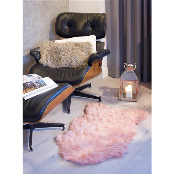 LUXE Gordon Faux Sheepskin Rug - 2'x 3' - Dusty Rose