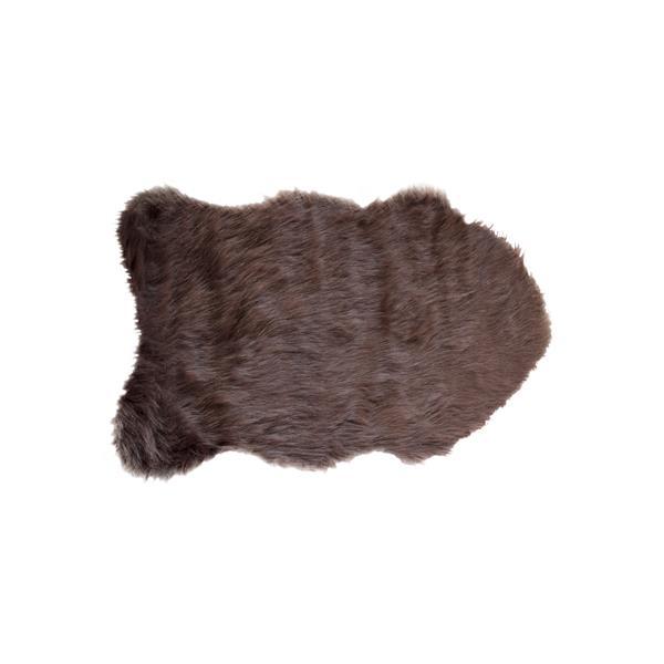 LUXE Gordon Faux Sheepskin 2-ft x 3-ft Chocolate Area Rug