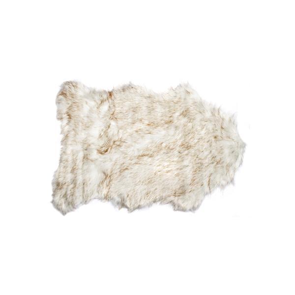 LUXE Gordon Faux Sheepskin 2-ft x 3-ft Dark Tan Area Rug