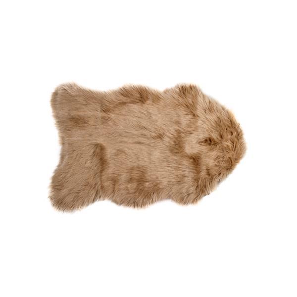 Tapis Gordon en fausse fourrure de mouton , 2' x 3', bronze