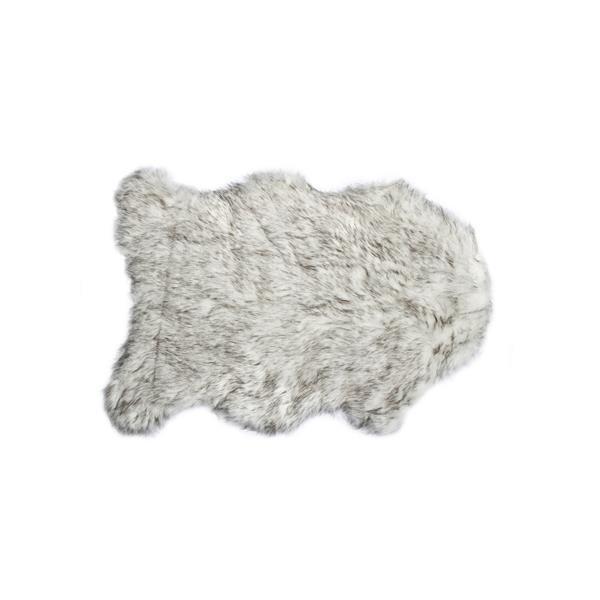 LUXE Gordon Faux Sheepskin 2-ft x 3-ft Grey Area Rug