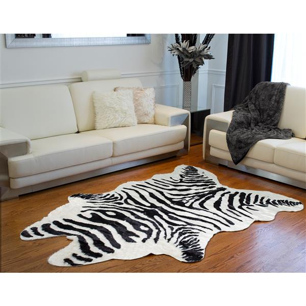 LUXE Faux Hide 5-ft x 7-ft Black & White Zebra Indoor Area Rug