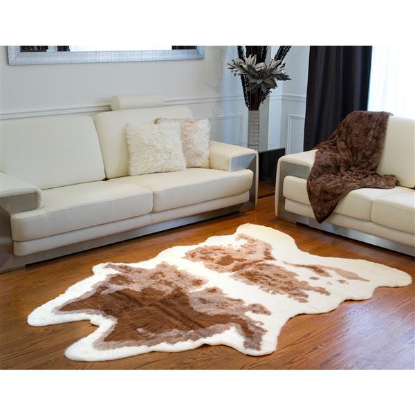 Tapis en fausse en peau de vache , 5,25' x 7,5', brun/blanc