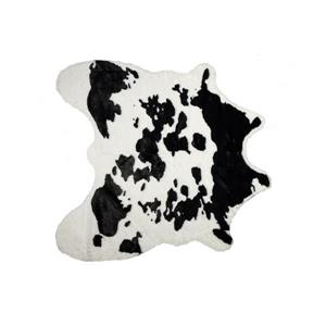 LUXE Faux Hide 4-ft x 5-ft Black & White Cow Indoor Area Rug
