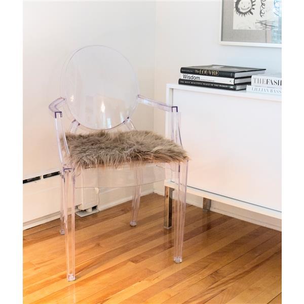 Tapis de chaise en fausse fourrure , bronze , 2 pqt