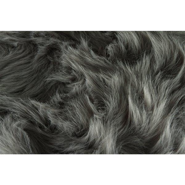Tapis de chaise en fausse fourrure , gris , 2 pqt