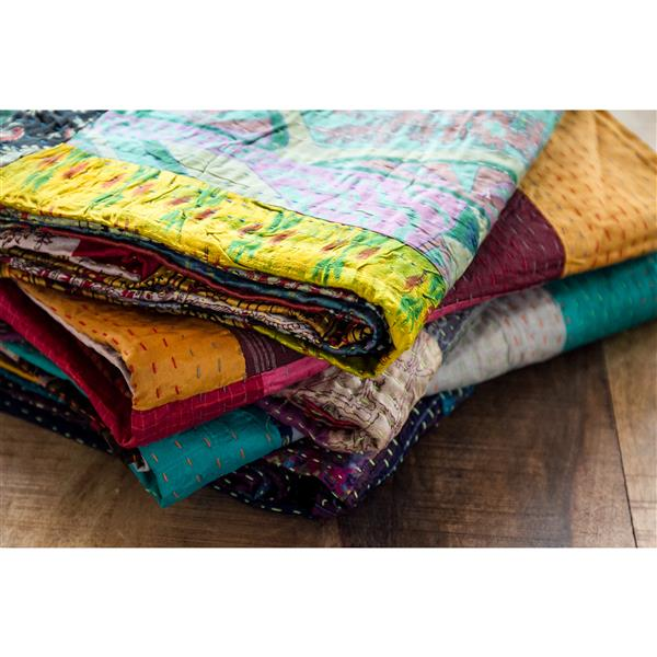 Natural by Lifestyle Brands Kantha 60-in x 90-in Multicoloured Silk Throw