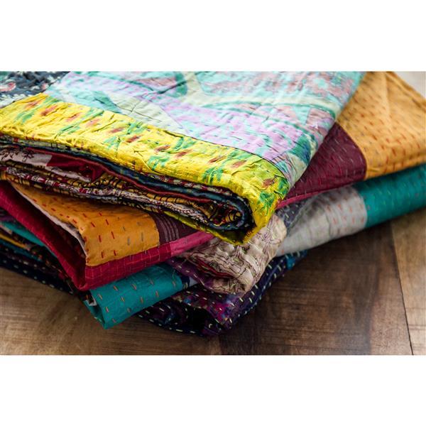 """Jeté en soie Kantha, 60 """"x 90"""", multicolore"""