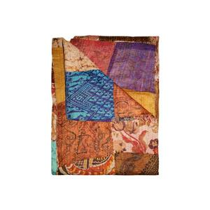 Kantha 60-in x 90-in Multicoloured Silk Throw