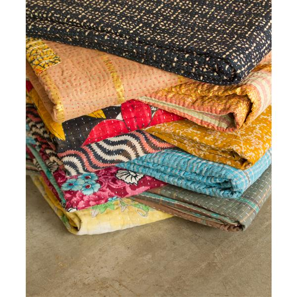 Natural by Lifestyle Brands Kantha 50-in x70-in 317 Cotton Vintage Handmade Throw