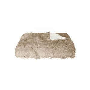 LUXE Modern Traditional 50-in x 70-in Tan Mongolian Sheepskin Faux Fur Throw