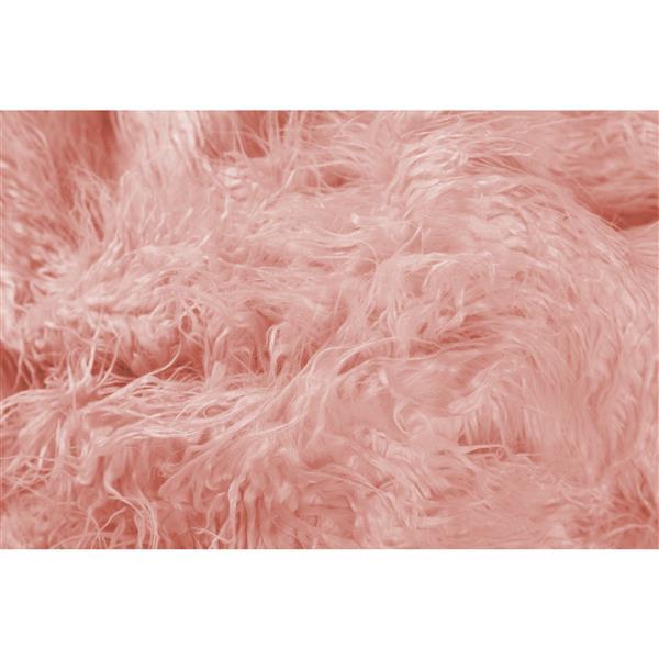 LUXE Modern Traditional 50-in x 70-in Dusty Rose Mongolian Sheepkin Faux Fur Throw