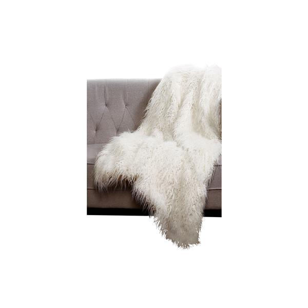 """Jeté en fausse fourrure de mouton Mongolien , 50""""x70"""", blanc"""