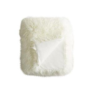 LUXE Modern Traditional 50-in x 70-in White Mongolian Sheepkin Faux Fur Throw