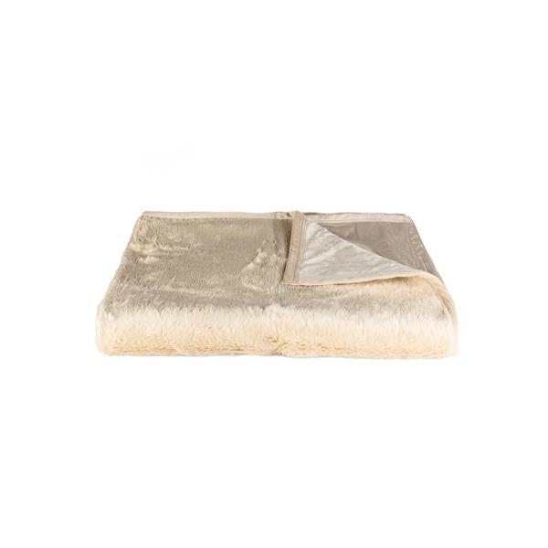 Luxe 50-in x 70-in Beige Faux Fur Throw