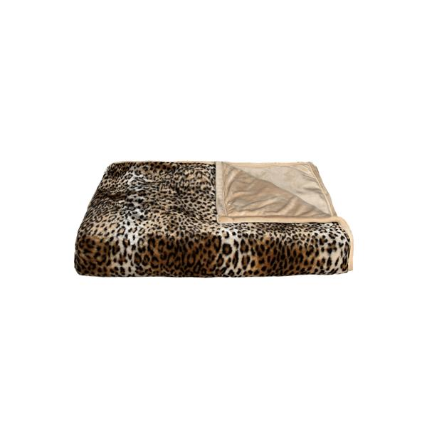 LUXE Modern Traditional 50-in x 70-in Leopard Faux Fur Throw