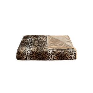"""Jeté en fausse fourrure , 50""""x70"""", leopard"""