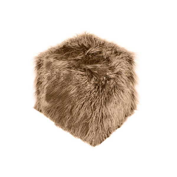 LUXE Mongolian Tan Sheepskin Faux Fur Ottoman