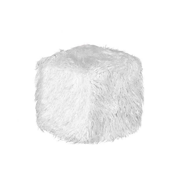 LUXE Mongolian White Sheepskin Faux Fur Ottoman Stone