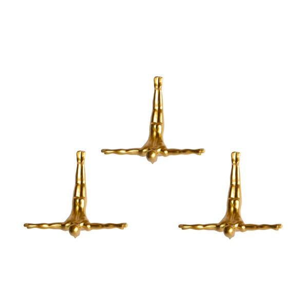 Natural by Lifestyle Brands Wall Divers 6.50-in x 2.50-in 3 Pack in Gold