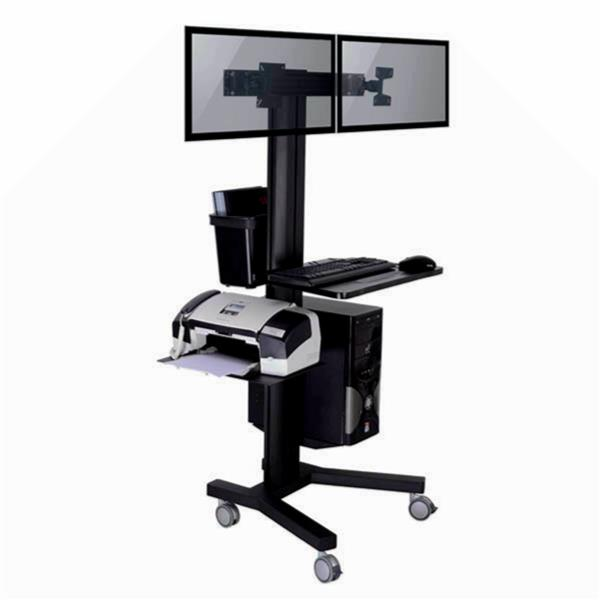 TygerClaw 13-in to 17-in Black 2 Monitor PC Cart