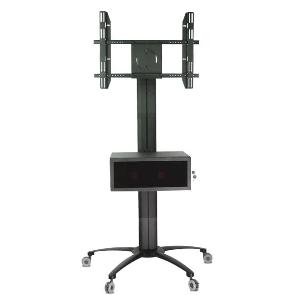 TygerClaw 30-in to 60-in Black Flat Panel Mobile TV Stand