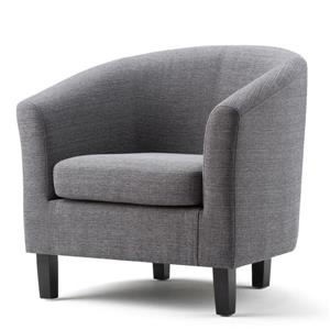 Simpli Home 17.3-in Grey Linen Austin Tub Chair